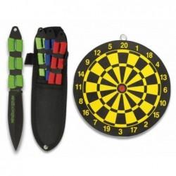 Set 3 cuchillos lanzadores Albainox encordados con diana 17.7 cm