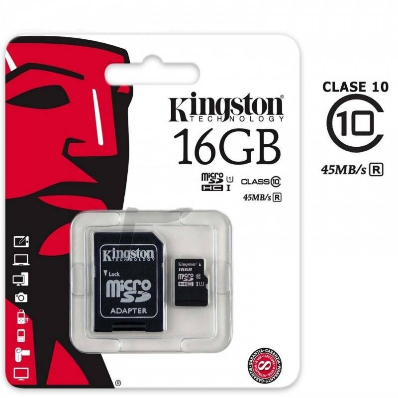 Tarjeta de memoria micro SD Kingston de 16GB clase 10 con adaptador