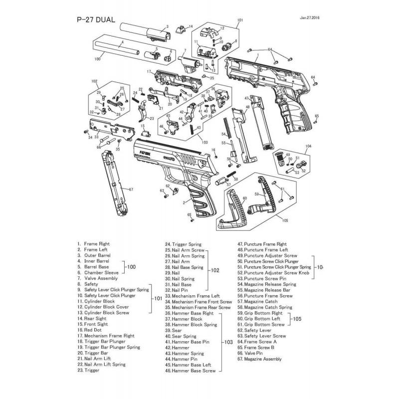 1 Gamo P-27 Despiece