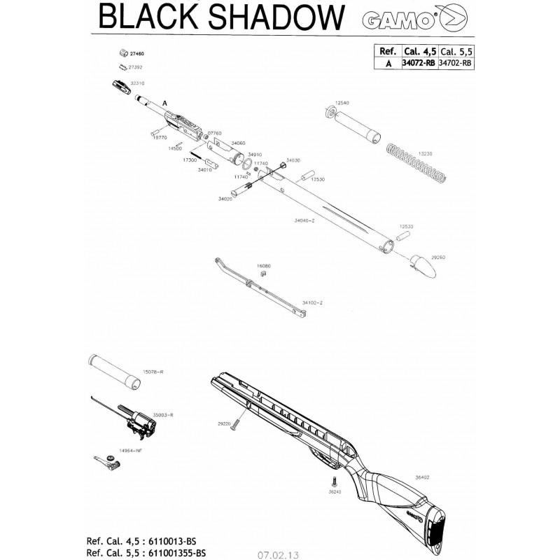 1 Gamo Blak Shadow Despiece
