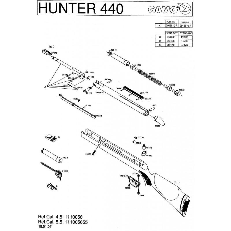 1 Gamo Hunter 440 2007 Despiece