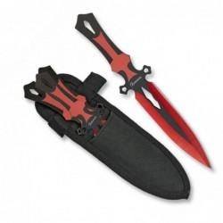 Cuchillos lanzadores Albainox Set 3 rojos 17 cm